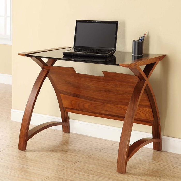 Jual Helsinki Curved 900mm wide Laptop Table in Walnut and Black Glass (PC201-900-LT-WB)