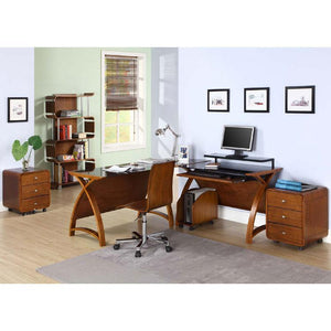 Jual Helsinki Curved 3-Drawer Mobile Desk Pedestal in Walnut (PC201-DR-WAL)