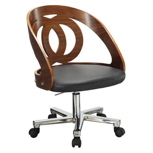 Jual Santiago Curved Executive Chair in Walnut and Black Leather (PC606-WAL)