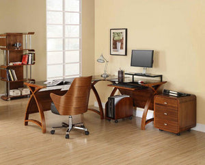 Jual Curve PC201 Corner Desk Package in Walnut and Black Glass