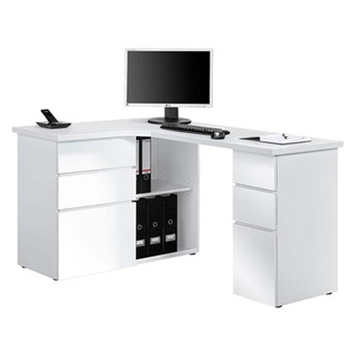 Maja Oxford Corner Desk in Ice White and High Gloss White (9543 3956)