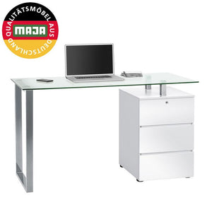 Maja Richmond Office Desk in Chrome and High Gloss White (9550 9856)