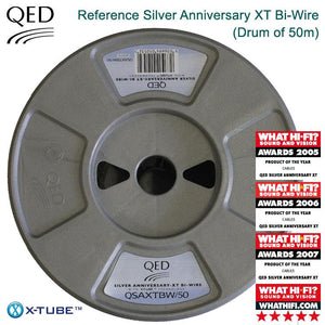 QED Reference Silver Anniversary XT Bi-Wire Speaker Cable - 50m Drum