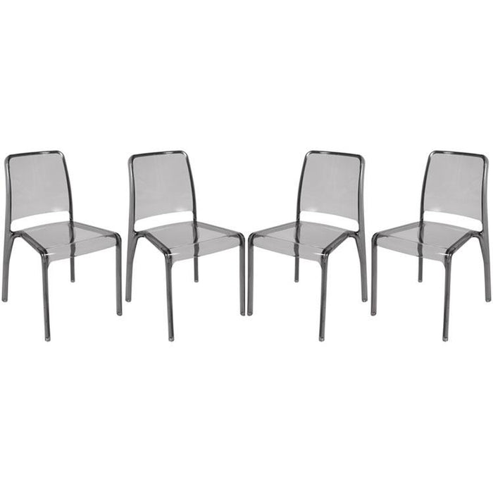 Teknik Clarity Smoked Polycarbonate Chairs, Pack of 4 (6908SM)