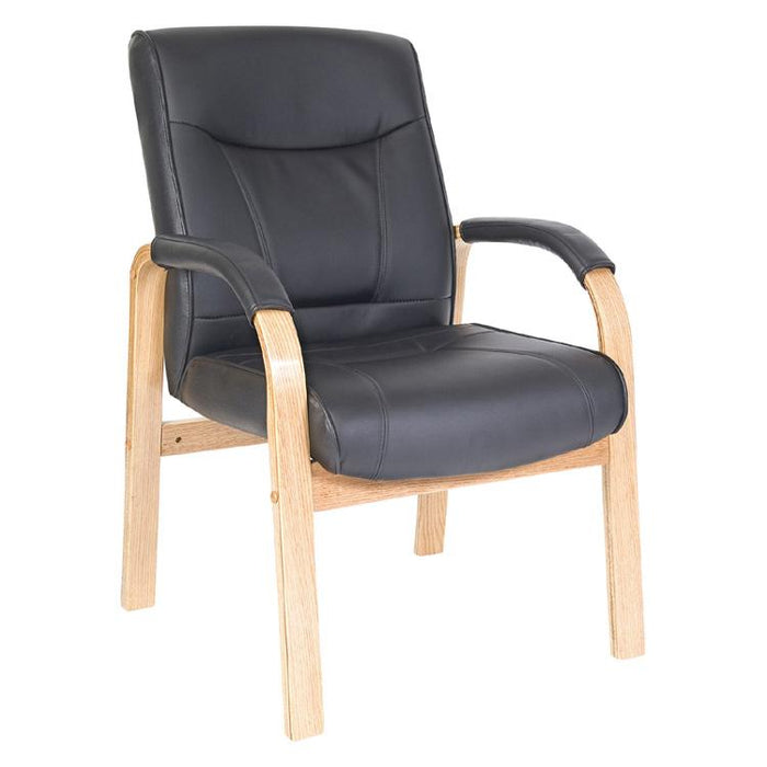 Teknik Kingston Black Leather Visitor Chair with Light Wood (8511MD)