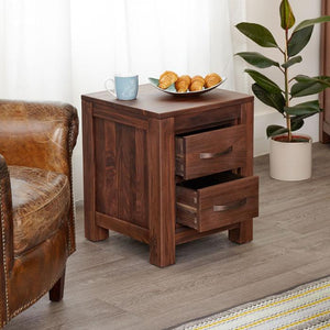 Baumhaus Mayan Walnut Two Drawer Lamp Table (CWC10B)