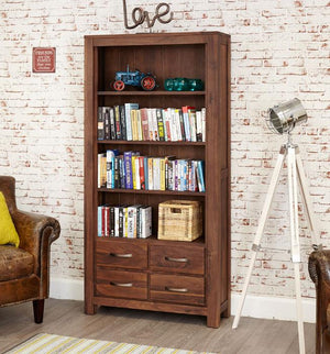 Baumhaus Mayan Walnut Large 4 Drawer Bookcase (CWC01A)