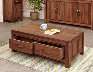 Baumhaus Mayan Walnut Low Four Drawer Coffee Table (CWC08B)