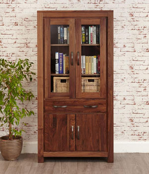 Baumhaus Mayan Walnut Large Glazed Bookcase (CWC01D)