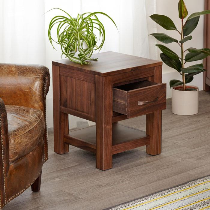Baumhaus Mayan Walnut One Drawer Lamp Table (CWC10A)