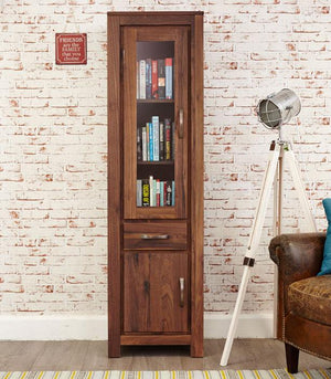 Baumhaus Mayan Walnut Narrow Glazed Bookcase (CWC01C)