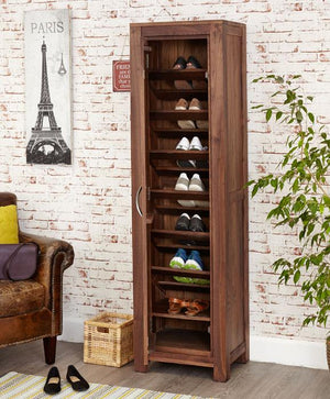 Baumhaus Mayan Walnut Tall Shoe Cupboard (CWC20E)