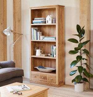 Baumhaus Mobel Oak Large 3 Drawer Bookcase (COR01A)