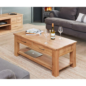 Baumhaus Mobel Oak Four Drawer Coffee Table (COR08D)