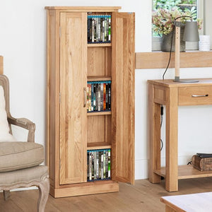 Baumhaus Mobel Oak DVD Storage Cupboard (COR17B)