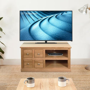 Baumhaus Mobel Oak Four Drawer Television Cabinet (COR09A)