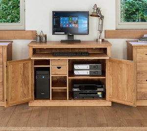 Baumhaus Mobel Oak Hidden Home Office Desk (COR06A)