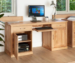 Baumhaus Mobel Oak Large Hidden Office Twin Pedestal Desk (COR06D)