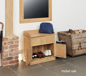 Baumhaus Mobel Oak Shoe Bench with Hidden Storage (COR20C)