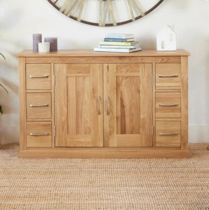 baumhaus mobel oak six drawer sideboard cor02b