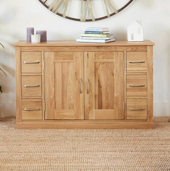 Baumhaus Mobel Oak Six Drawer Sideboard  (COR02B)