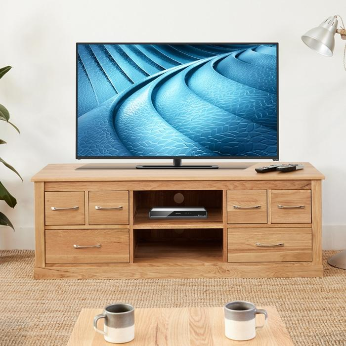 Baumhaus Mobel Oak Widescreen Television Cabinet (COR09B)