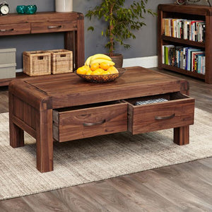 Baumhaus Shiro Walnut Four Drawer Coffee Table (CDR08C)