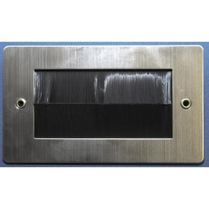 Stainless Steel Brush Wall Plate Double Gang with Black Brushes