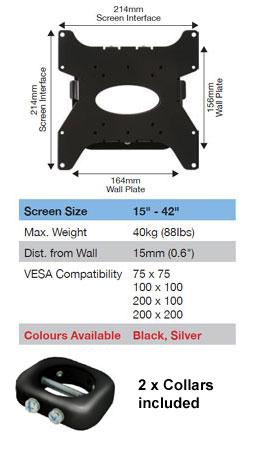 BT7532 - Ultraslim Flat Screen TV Wall Bracket + 2 x BT7052 Collars