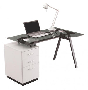 Alphason Cleveland 4 Workstation - Glass Top - Pedestal - Smoked Grey