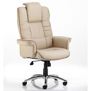 Dynamic Chelsea Luxury Gull Wing Executive Cream Leather Chair