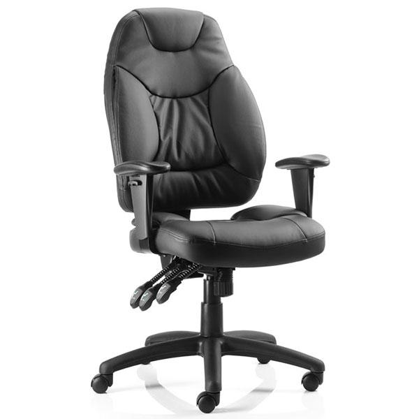 Dynamic Galaxy Ergonomic Executive Leather Operator Chair in Black