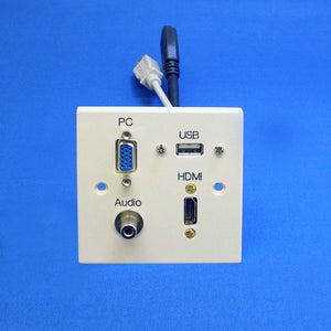 HDMI, VGA Wall Plate with USB and 3.5mm Jack Audio (AV4-MA-1GW-HDMI-VGA-USB-3.5-PP)