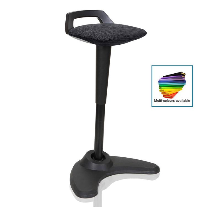 Dynamic Spry Sit and Stand Stool in Charcoal with Black Frame