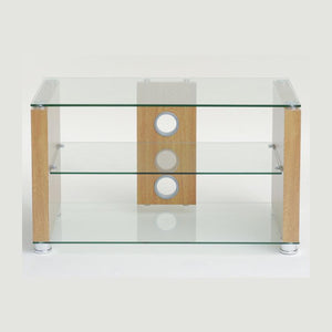 TTAP Elegance TV Stand in Oak and Clear Glass (AVS-L611-1000-3OC)