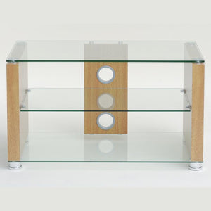 TTAP Elegance TV Stand in Oak and Clear Glass (AVS-L611-1200-3OC)