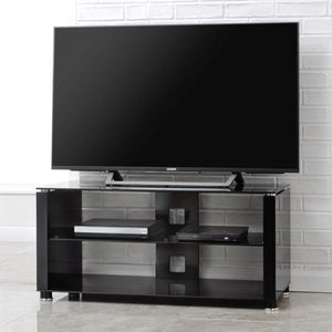 TTAP Elegance TV Stand in Gloss Black and Black Glass (AVS-L611G-1200-3BB)