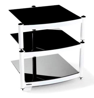 Atacama Equinox Hi-Fi RS 3-WB - 3 Shelf Hi-Fi Stand in White with Black Glass
