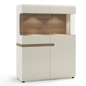 Furniture To Go Chelsea 109cm Wide Display Cabinet in Gloss White and Oak (4023344P)