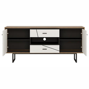 Furniture To Go Brolo 2 Door 2 Drawer TV Unit With Walnut and High Gloss White (4344153)