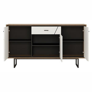 Furniture To Go Brolo 3 Door 1 Drawer Sideboard With Walnut And High Gloss White (4344253)