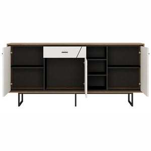 Furniture To Go Brolo 3 Door 1 Drawer Wide Sideboard With Walnut And High Gloss White (4344353)