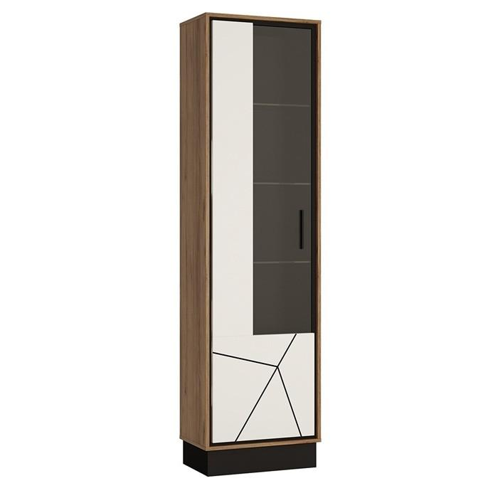 Furniture To Go Brolo Tall Glazed Left Hand Cabinet Walnut And High Gloss White (4341353)
