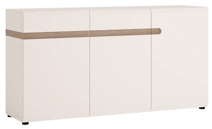Furniture To Go Chelsea 2 Drawer 3 Door 164cm Wide Sideboard in Gloss White and Oak (4024044)