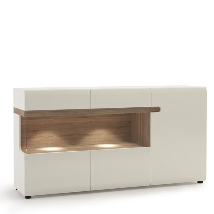 Furniture To Go Chelsea 3 Door Glazed 164cm Wide Sideboard in Gloss White and Oak (4024244P)