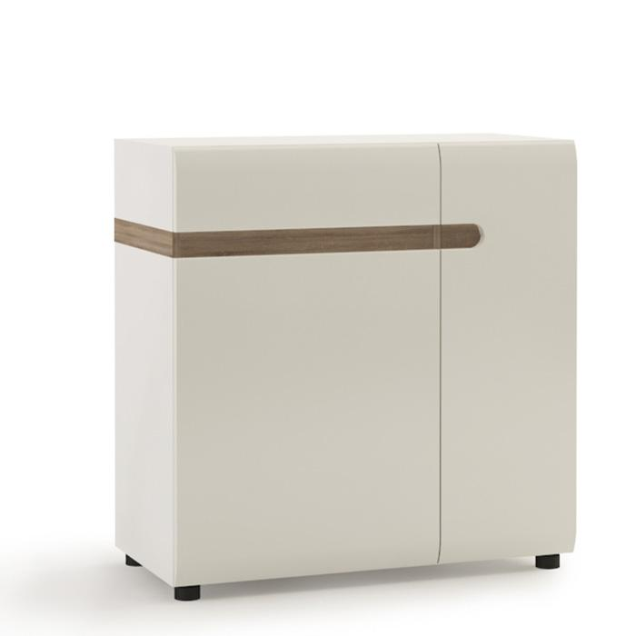 Furniture To Go Chelsea 1 Drawer 2 Door 85cm Wide Sideboard in Gloss White and Oak (4023444P)