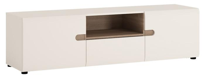 Furniture To Go Chelsea Wide 2 door TV Unit in White with Truffle Oak Trim and Open Section (4025544)