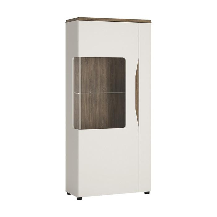 Furniture To Go Toledo LHD 1 Door Display Cabinet in Gloss White and Oak (4281344)