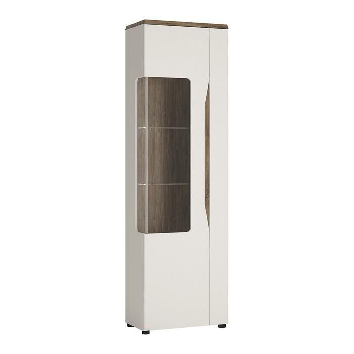 Furniture To Go Toledo Narrow LHD 1 Door Display Cabinet in Gloss White and Oak (4281144)