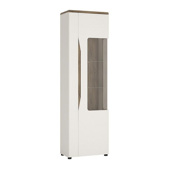 Furniture To Go Toledo Narrow RHD 1 Door Display Cabinet in Gloss White and Oak (4281244)